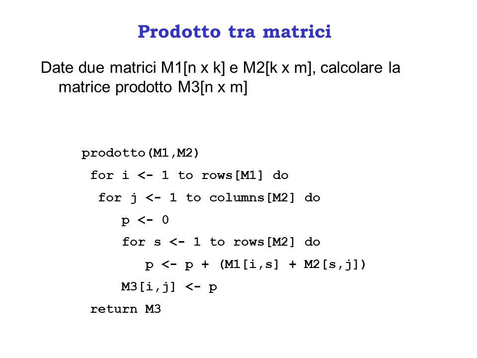 Prodotto tra matrici Date due matrici M1[n x k] e M2[k x m], calcolare la matrice prodotto M3[n x m]
